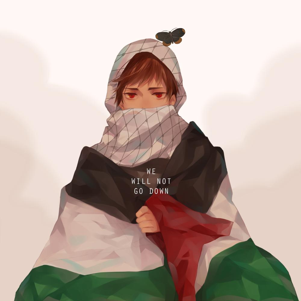Ilustración de una chica palestina en estilo manga