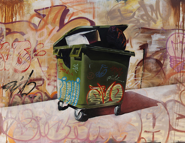 Graffiti realista de un contenedor de basura de pichiavo