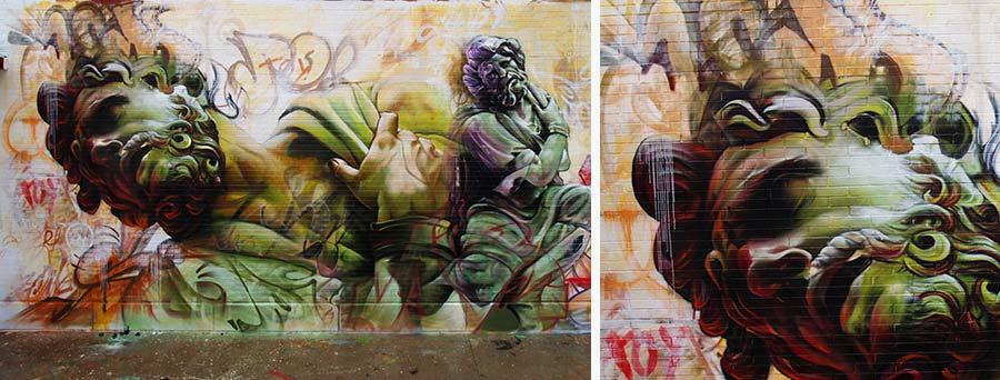 Mural sobre pared de pichiavo imitando el arte griego