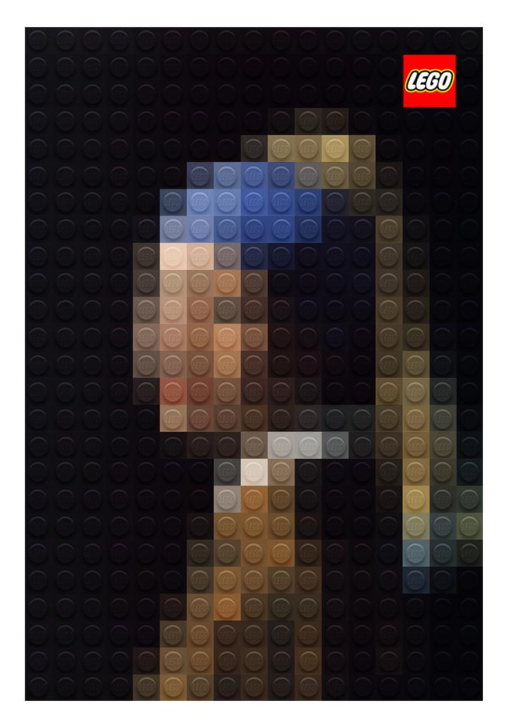 Pintura joven de la perla hecha con lego
