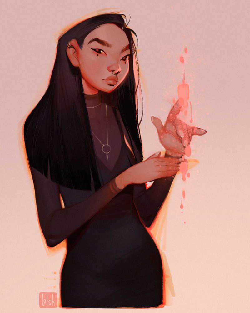 Chica asiatica ilustrada por loish