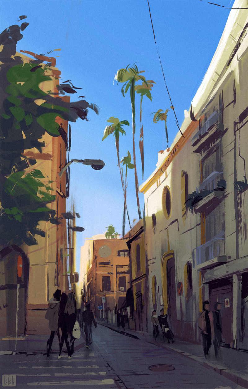 Paisaje callejero ilustrado por la artista loish