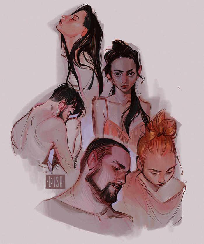 chicos y chicas dibujados por Loish