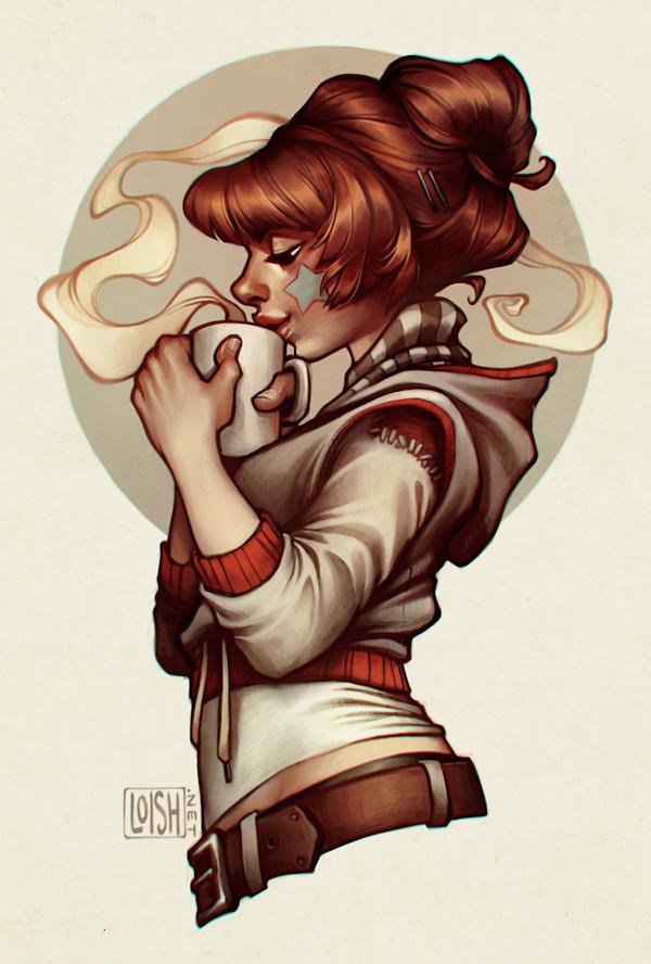 chica tomando café ilustrada por loish