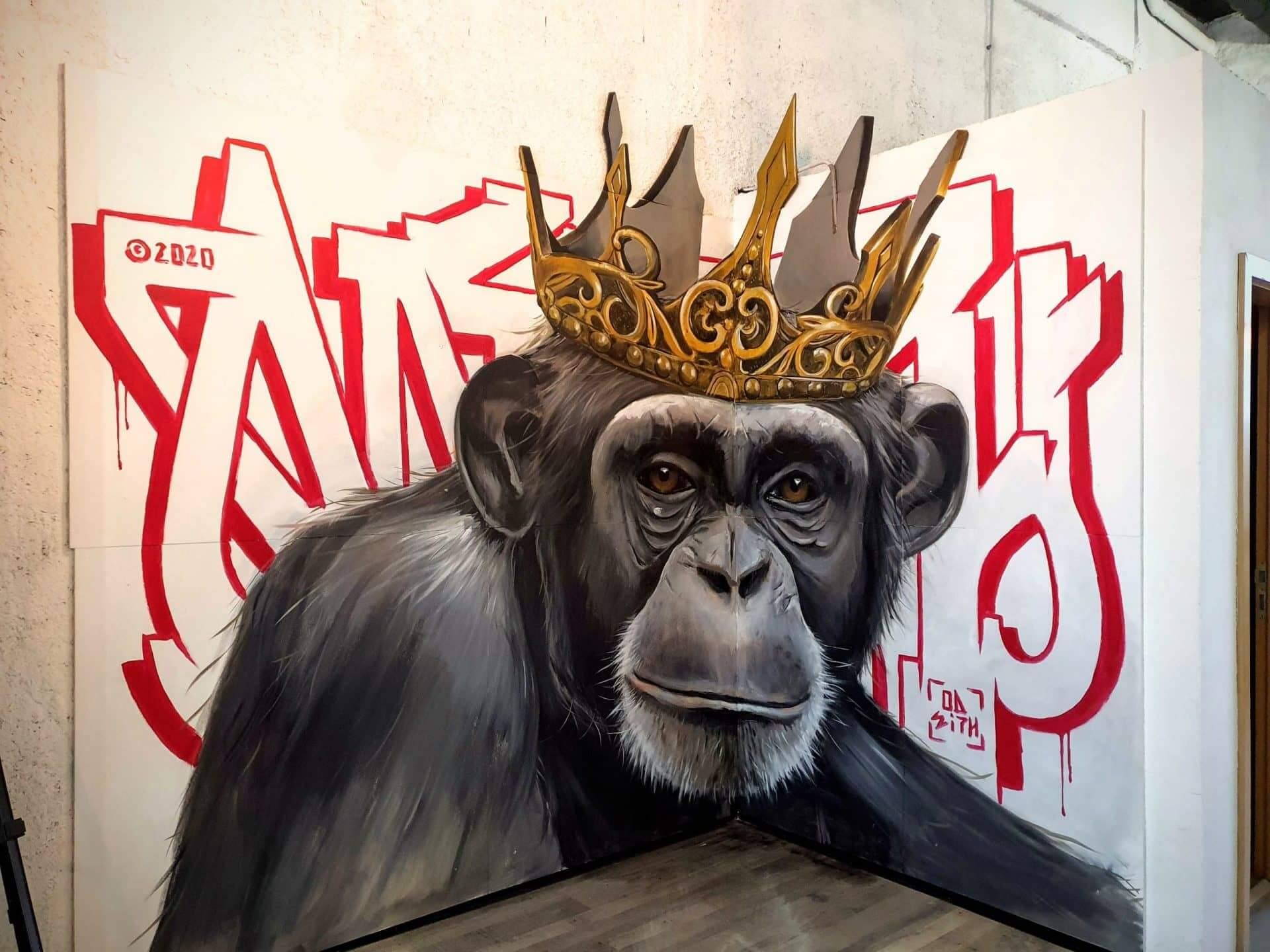 graffiti de un mono con effecto en tres dimensiones por odeith