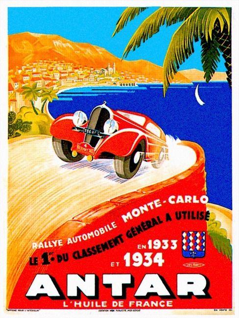 antar-montecarlo carteles de carreras vintage
