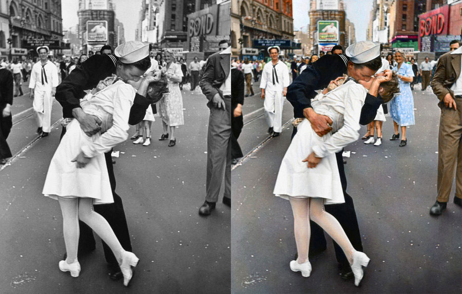 end of war kissing