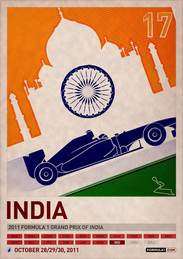 india grand prix carteles de coches vintage
