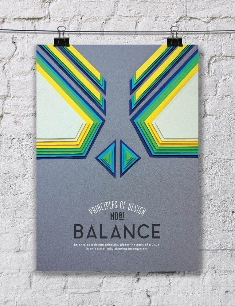Cartel con principio del diseño: balance