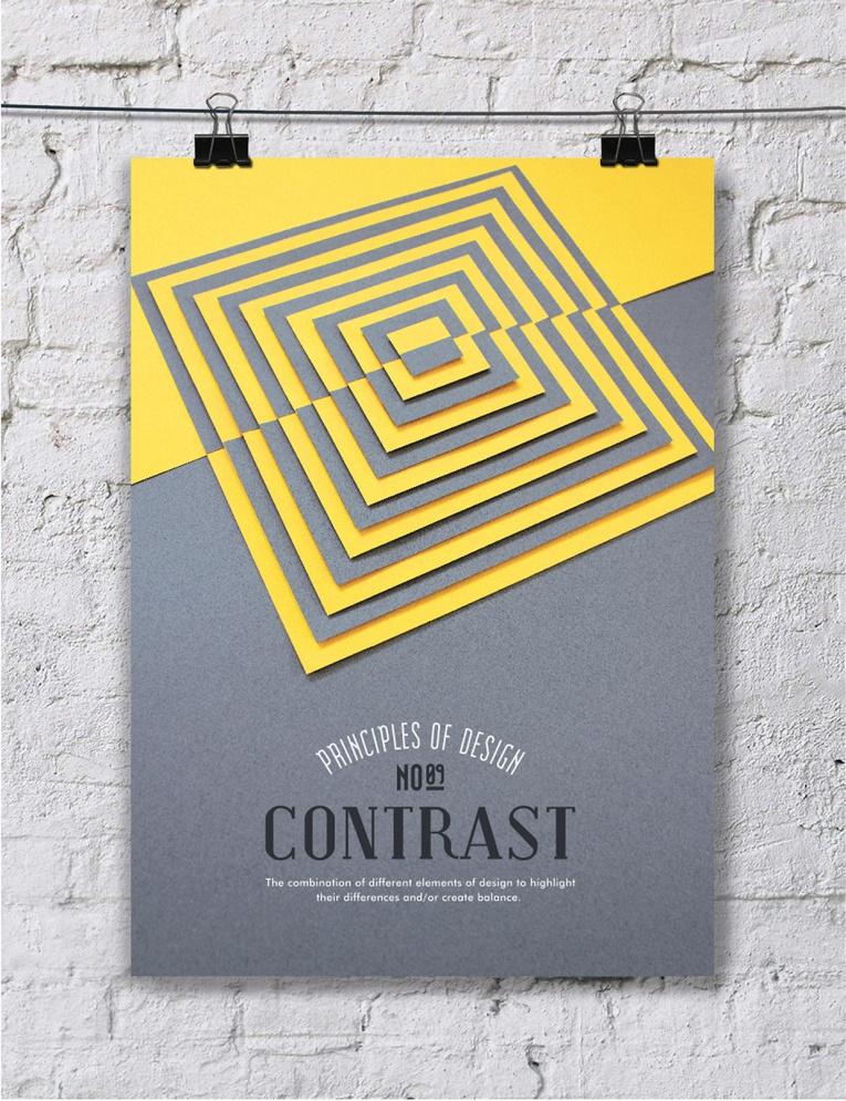 paper art posters principios del diseño, el contraste