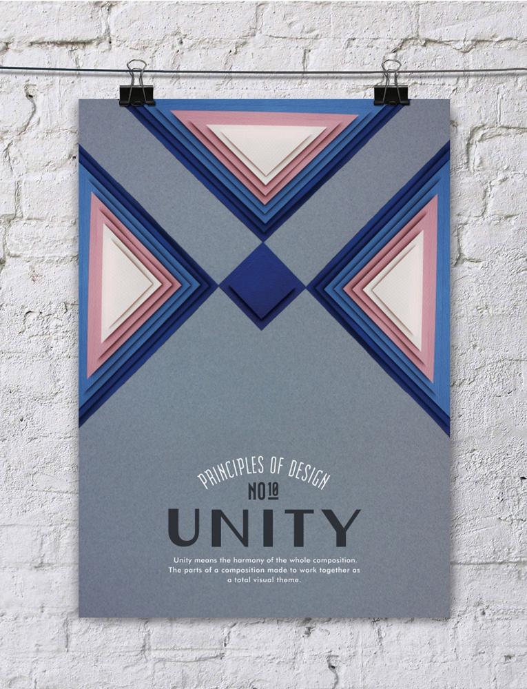 paper art posters principios del diseño, unidad