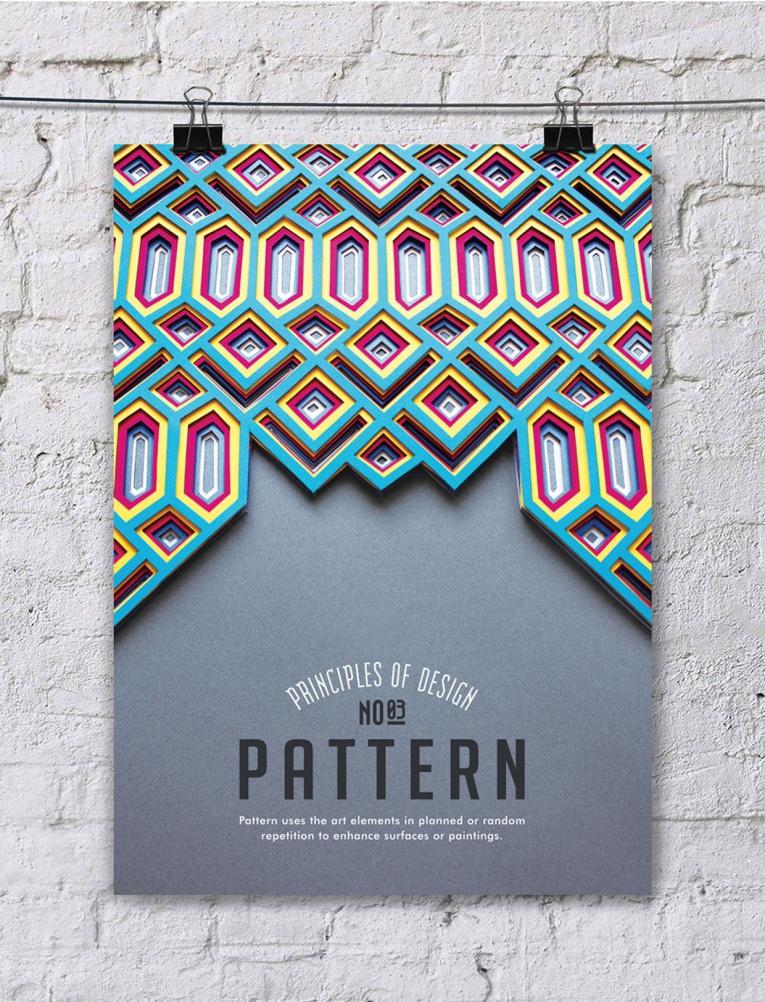 cartel poster con los principios del diseño patrones