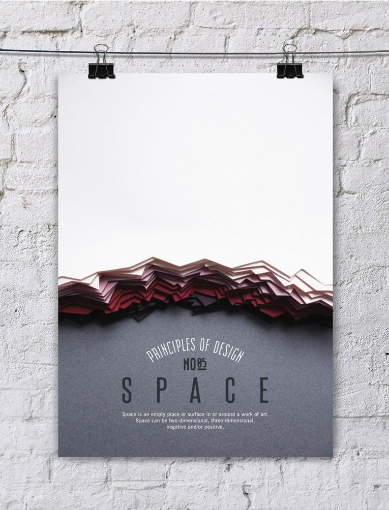 cartel poster con los principios del diseño, espacio