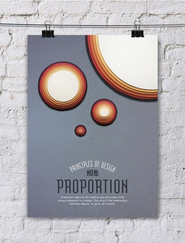 cartel poster con los principios del diseño, proporciones