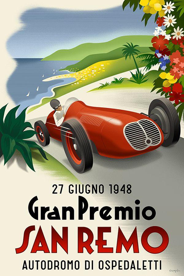 san remo carteles de coches vintage