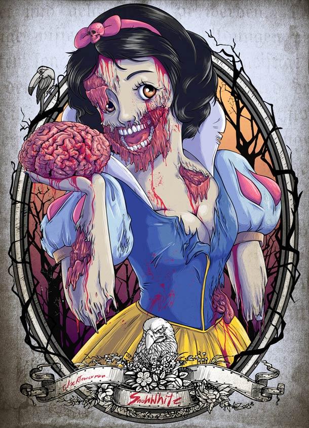 Ilustración de blancanieves como un zombie