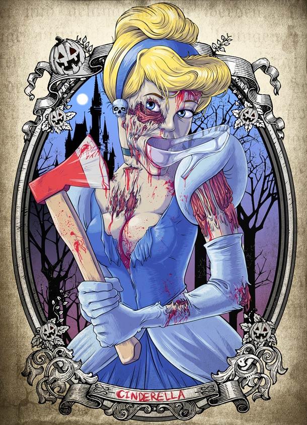 Princesa cenicienta de disney en modo zombie
