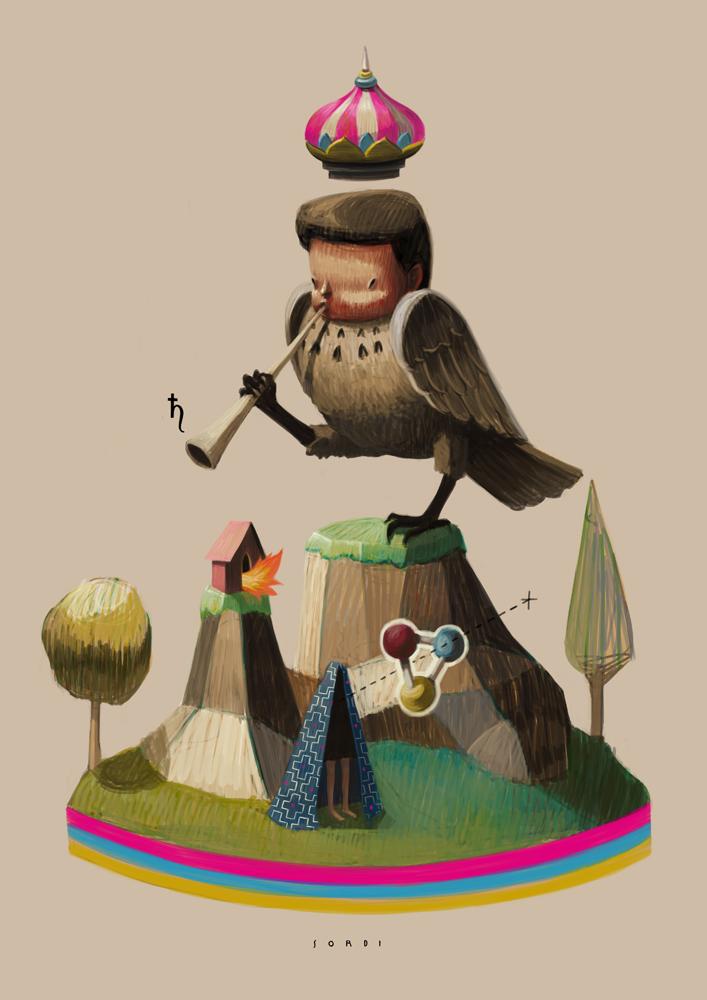 Pájaro en pintura pop art de alejandro sordi