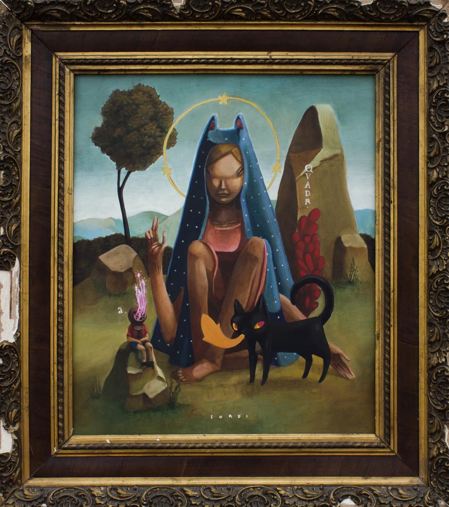 Mujer en el campo con animales en pintura pop art