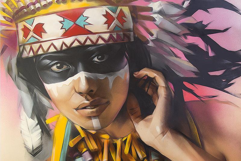 chica india dubujada en graffiti