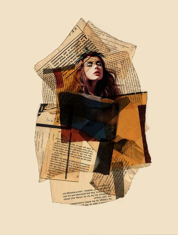 Arian-Behzadi collage de un rostro con periodicos