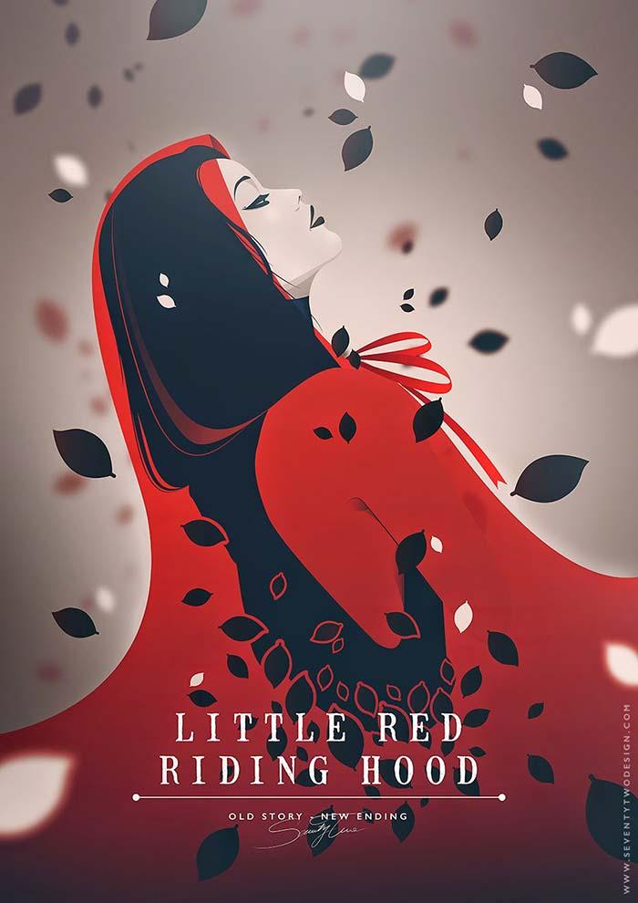 Dibujo ilustración de caperucita roja