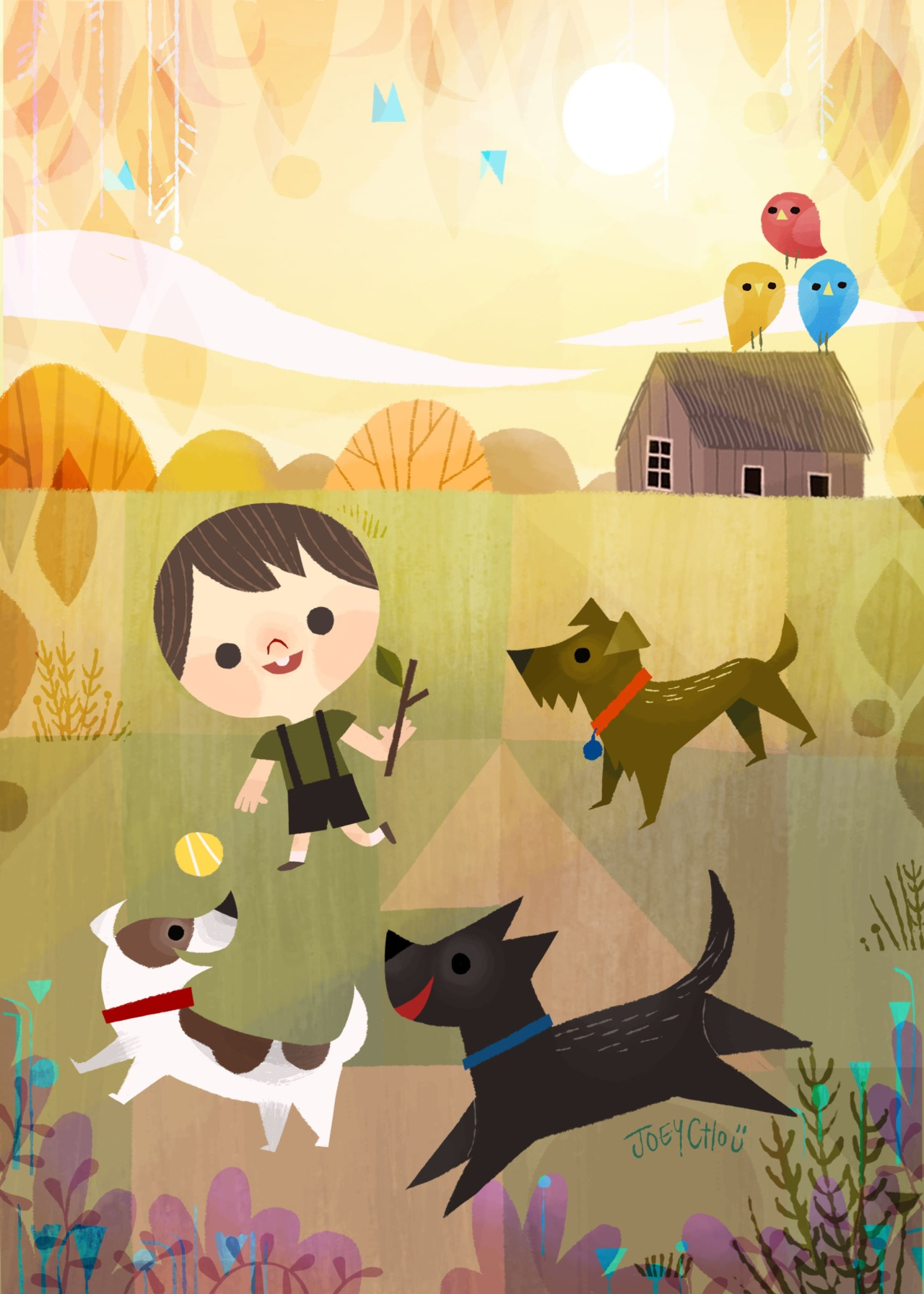 joey cho illustration kid animals