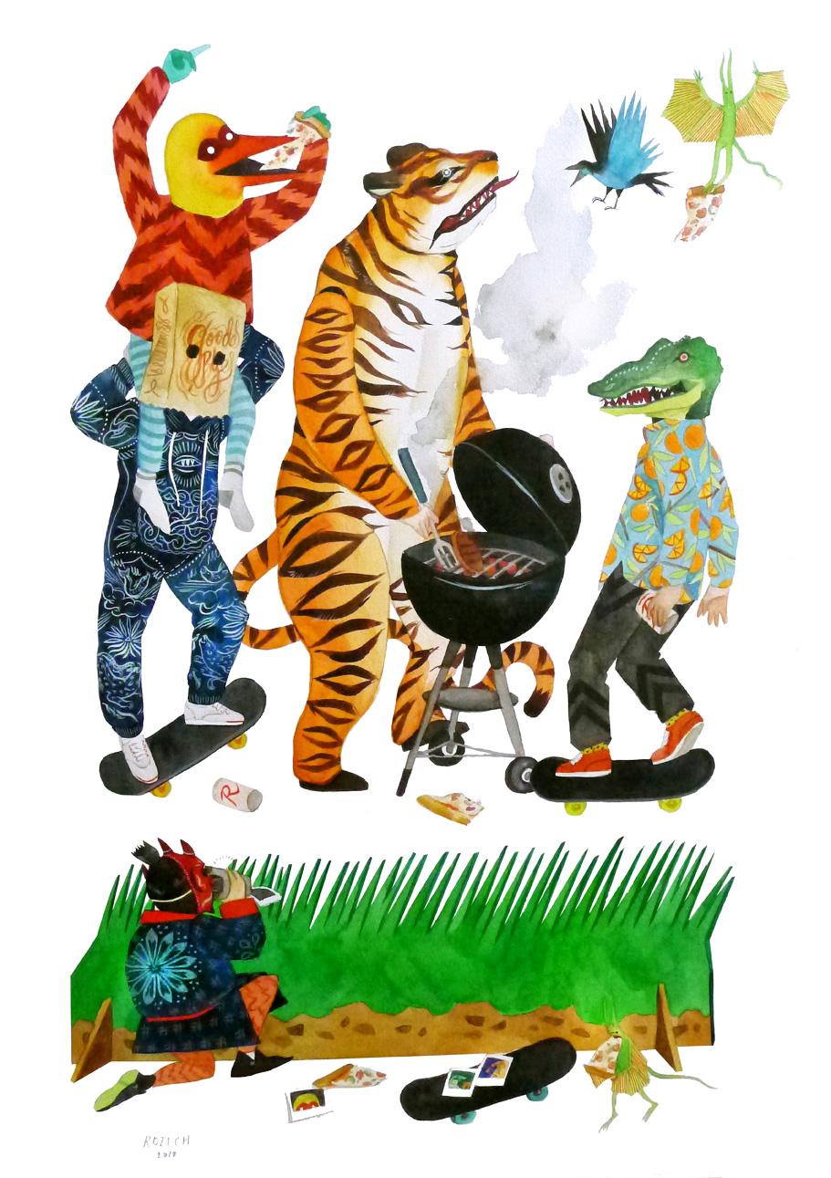 stacey rozich illustracion de animales montando una fiesta