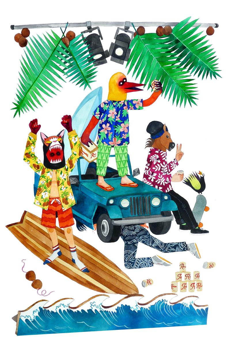 stacey rozich illustracion de animales haciendo surf y pasándolo bien