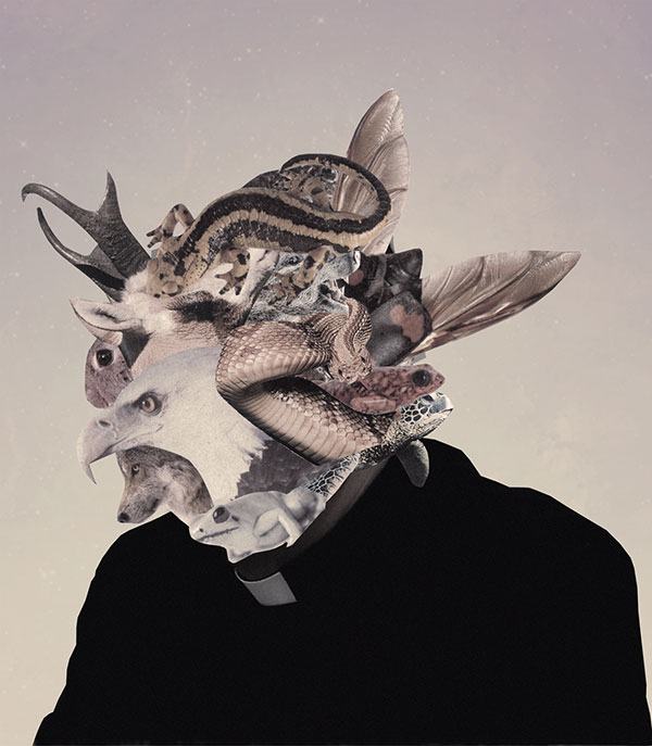 Collage de persona con cabeza de animales David Fallow