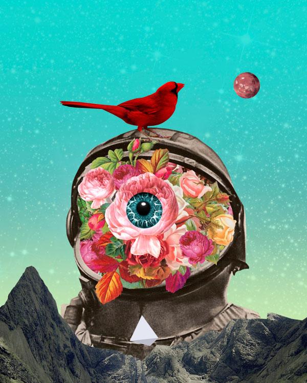 El arte del collage, astronauta con pajaros hecho por David Fallow