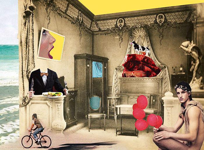 collage con elementos cláscios
