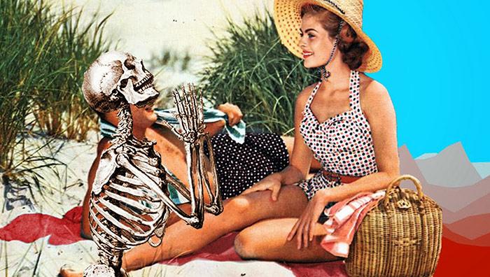 la muerte y una mujer en un diseño grafico con collage