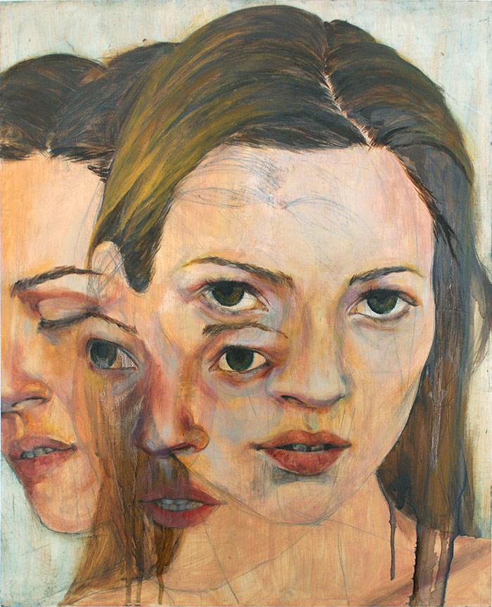 Pintura de tres rostros de mujer