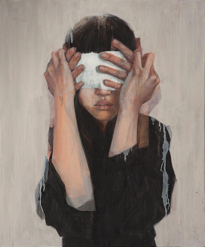 Pintura de chica con ojos cerrados