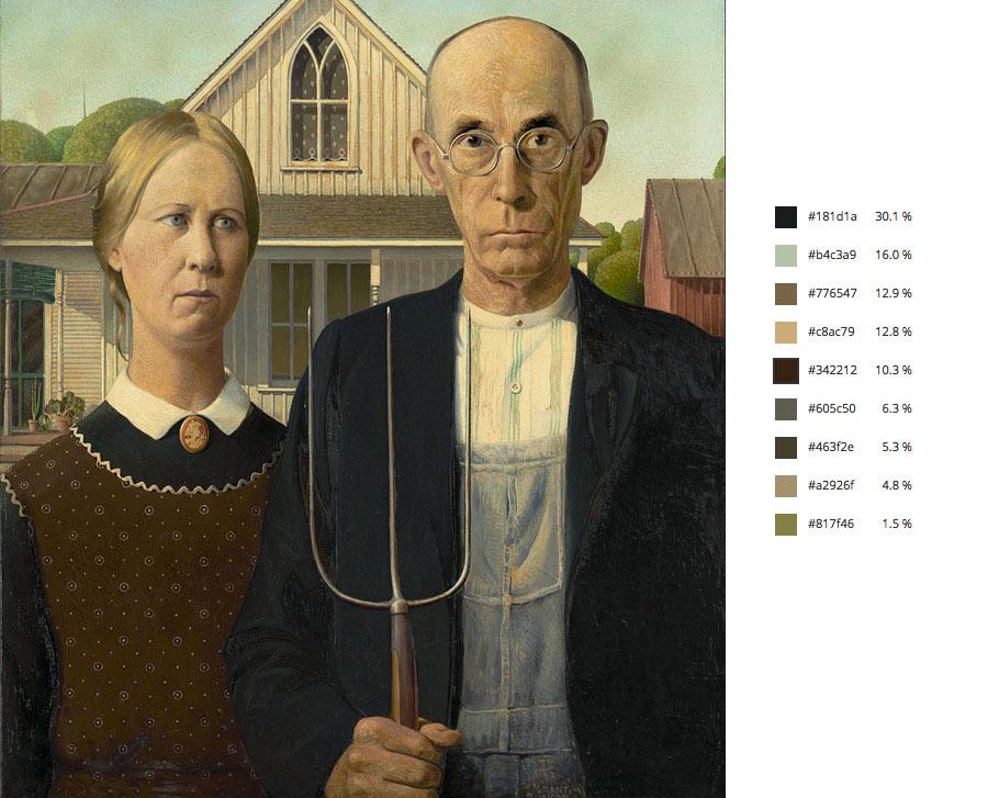 Paleta de colores del famosos cuadro american gothic