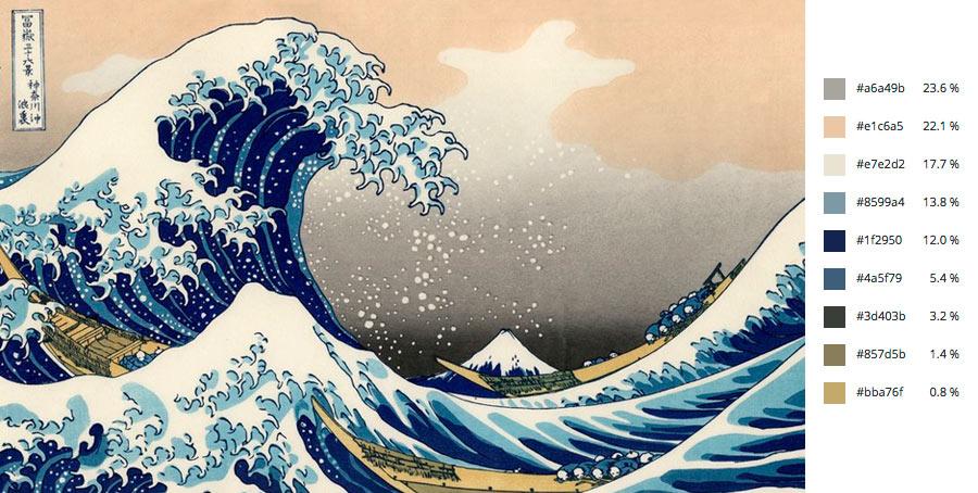 Paleta de colores colores la gran ola de kanagawa