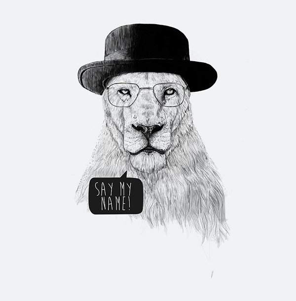 Ilustracion de animales - Leon con sombrero