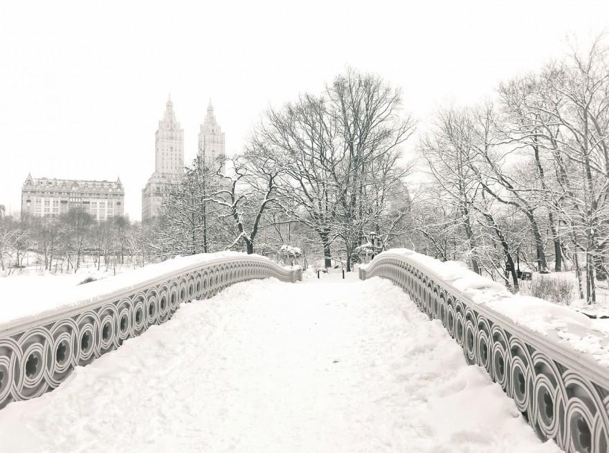 """Central Park Winter - Snow on Bow Bridge - New York City"""
