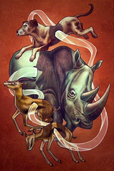 dibujo donde se mezcla diferentes animales