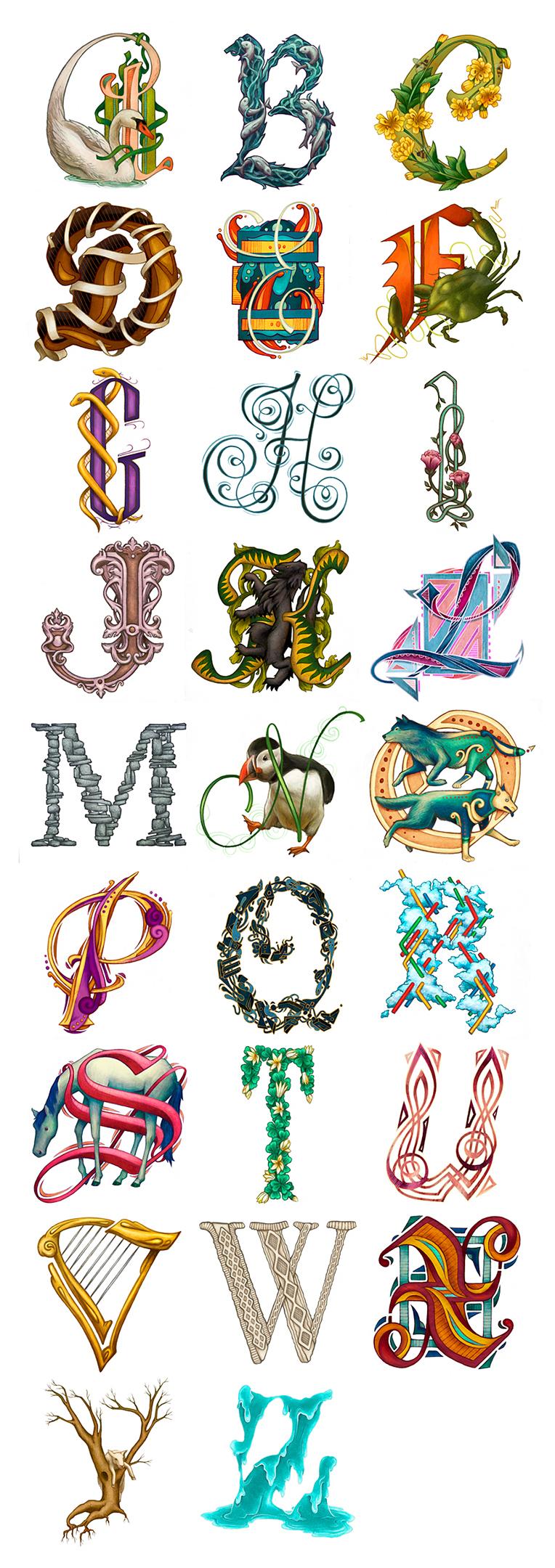 Alfabeto ilustrado con animales y plantas creado por la ilustradora kate-ohara