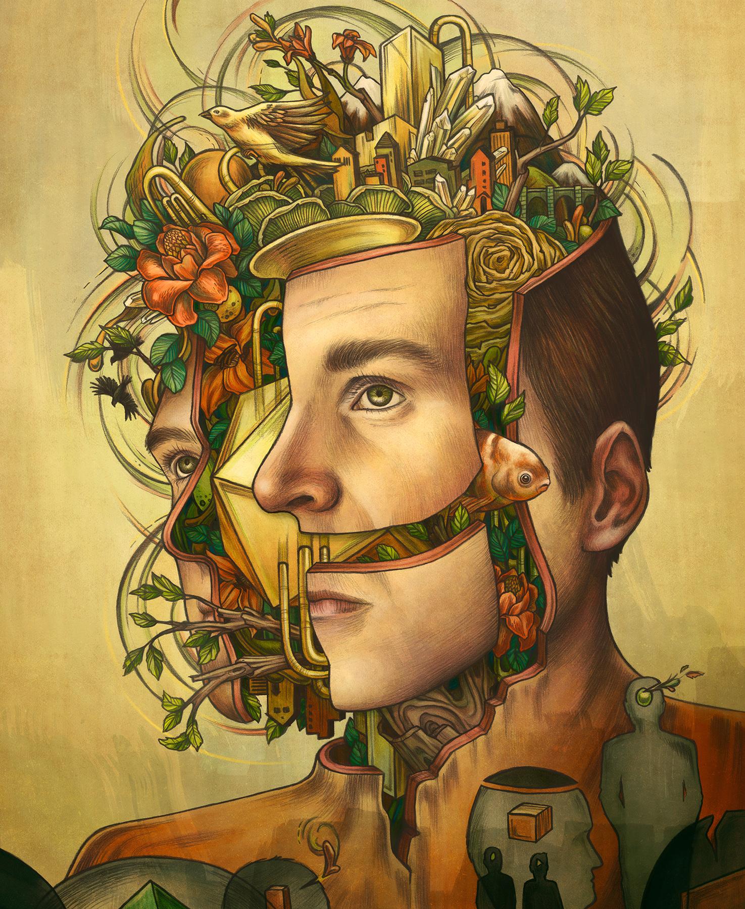 Ilustración de una cabeza con flores por kate-ohara