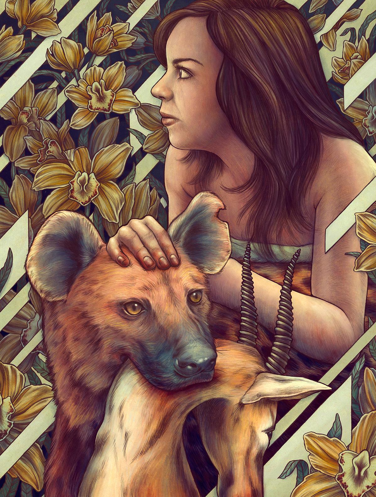 Retaro ilustrado de una chica con animales kate-ohara