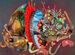Collage de pinturas que representa un camaleon