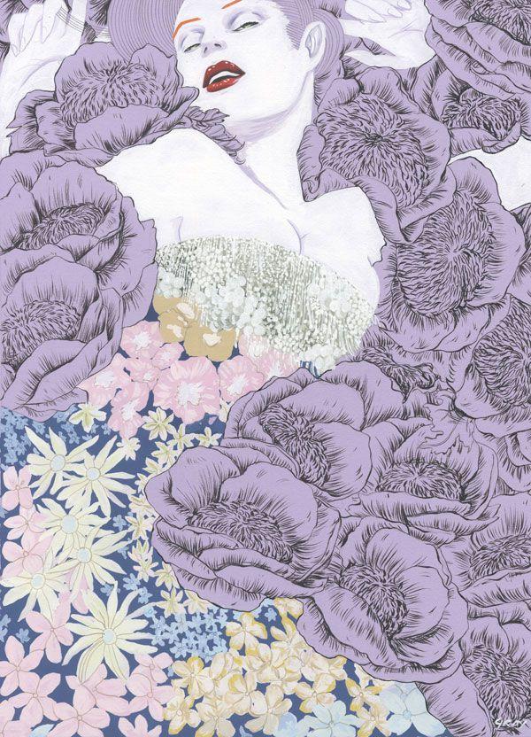 ilustración de chica tumbada sobre rosas