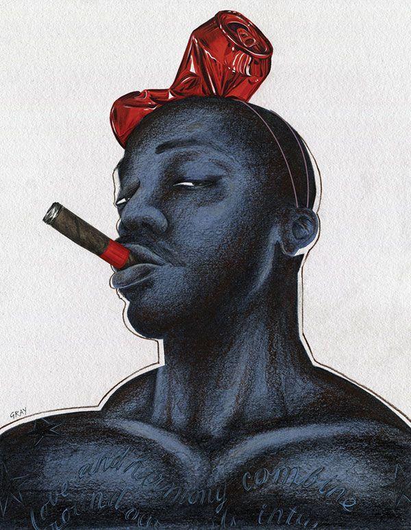 Dibujo de hombre de color fumando
