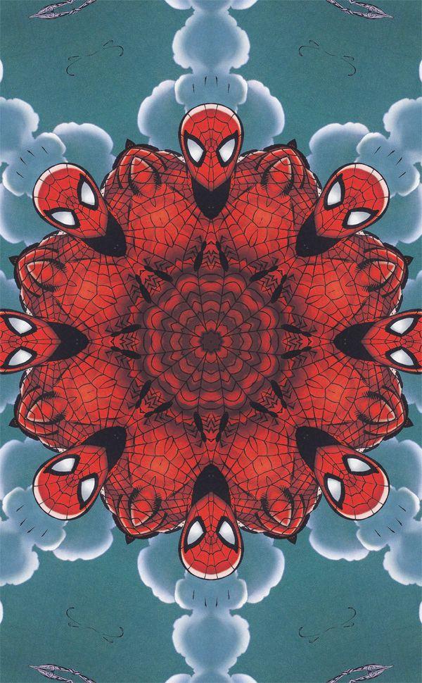 spiderman visto como un caleidoscopio