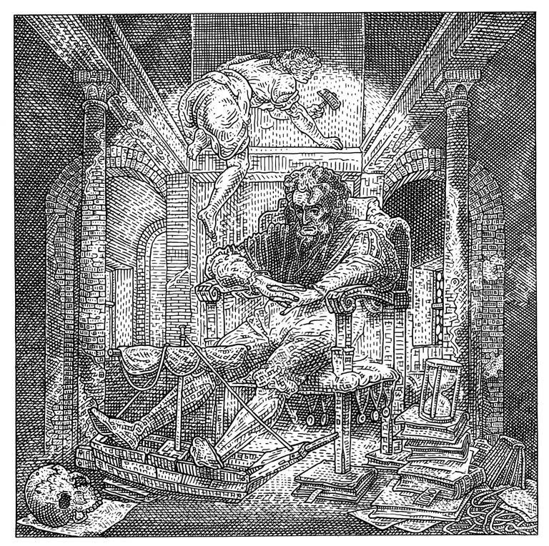 Istvan Orosz illusion illustration skull 10