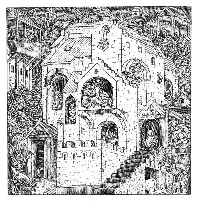 Istvan Orosz illusion illustration skull 2