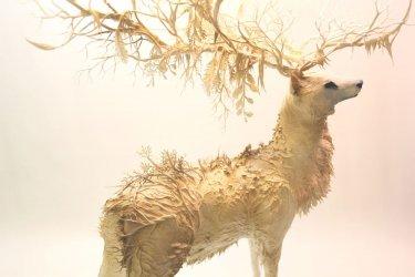 escultura de un ciervo hecha con plantas